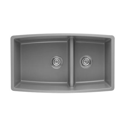 """Blanco 4413XX Performa Siligranit II 33"""" Undermount Double Bowl Sink, Heat Resistant up to 536 Degrees, Unique Reversible Shape, Low 6"""" Divider:"""