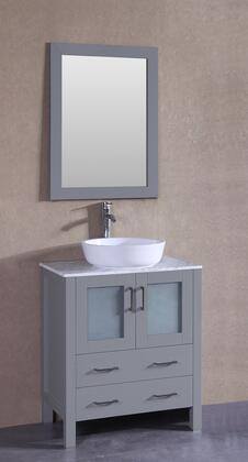 "Bosconi AGR130BWLCMX XX"" Single Vanity with Carrara Mable Top, Oval White Ceramic Vessel Sink, F-S02 Faucet, Mirror, 2 Doors and X Drawers in Grey"