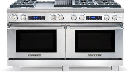 """American Range ARR-606GDGRDF 60"""" Medallion Dual Fuel Range with Two 4.9 Cu. Ft. Capacity Ovens, 6 Sealed Burners, 11"""" Griddle and 11"""" Char-Grill, in Stainless Steel:"""