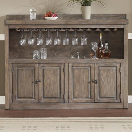 American Heritage 620043 Martino Series Storage Cabinet with Oak Veneer Construction, 2 Shelves, 4 Cabinets, Stemware Storage Rack and Charcoal Bronze Accent Hardware: