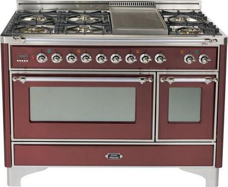 """Ilve UM120FMPRBX 48"""" Majestic Series Dual Fuel Freestanding Range with Sealed Burner Cooktop, 2.8 cu. ft. Primary Oven Capacity, Warming in Burgundy"""
