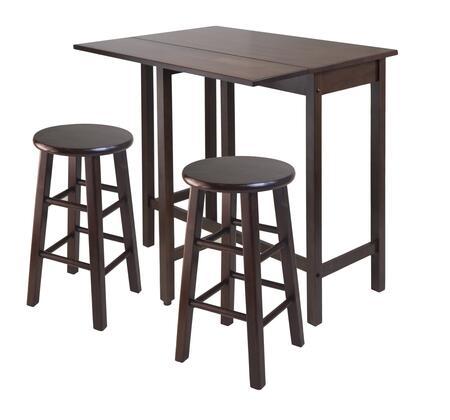 Winsome 943XXX Lynnwood Drop Leaf Island Table with 2 Stool, Walnut
