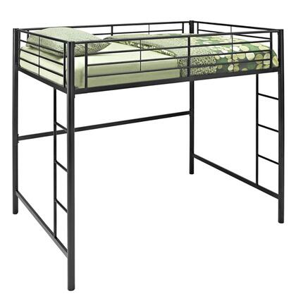 Walker Edison Premium Metal Full Size Loft Bed with Two Integrated Ladders in