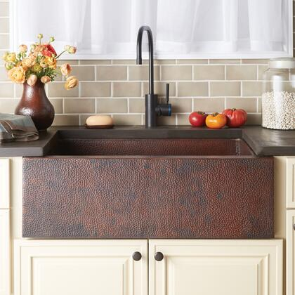 """Native Trails Copper Kitchen Sinks Collection 33"""" Pinnacle Kitchen Sink with 3.5"""" Drain Opening, Single Bowl, Apron Front Installation and Recycled Copper Material in"""
