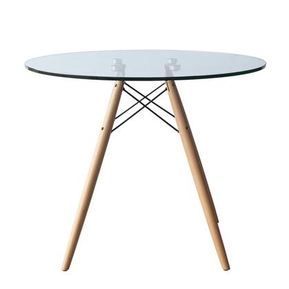 Fine Mod Imports FMI4010 Woodleg And Round Glass Top Dining Table