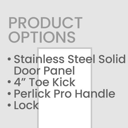 """Perlick CRS24PD4L 24"""" Stainless Steel Door Panel with 4"""" Toe Kick, Perlick Two Tone Handle, and Lock"""