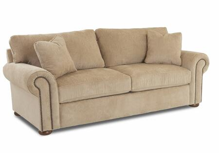 """Klaussner Sienna Collection B8410-SC- 90"""" Sofa with Rolled Arms, Bun Feet, Nail Head Accents and Polyester Fabric Upholstery in"""