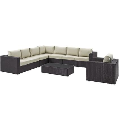 Modway Convene Collection EEI-2162- 7-Piece Outdoor Patio Sectional Set with Corner Section, Left & Right Arm Loveseat, 2 Armless Sections, Coffee Table and Armchair in Espresso and