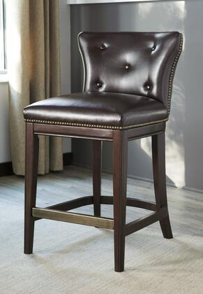 """Signature Design by Ashley Canidelli 36.75"""" Bar Stool with Button Tufted Back, Metal Capped Footrest, Dark Brown Cherry Solid Wood Frame, Nail Head Trim and Faux Leather Upholstery in Color"""