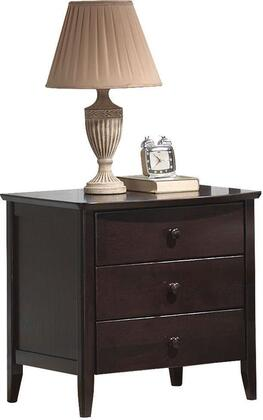"Acme Furniture San Marino Collection 24"" Nightstand with 3 Drawers, Tapered Legs, Round Knobs, Rubberwood and Veneer Materials in"