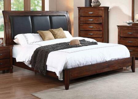 Coaster Noble Collection B2193XBED Size Sleigh Bed with Padded Upholstered Headboard, Low Profile Footboard, Tapered Legs and Solid Wood Construction in Vintage Honey