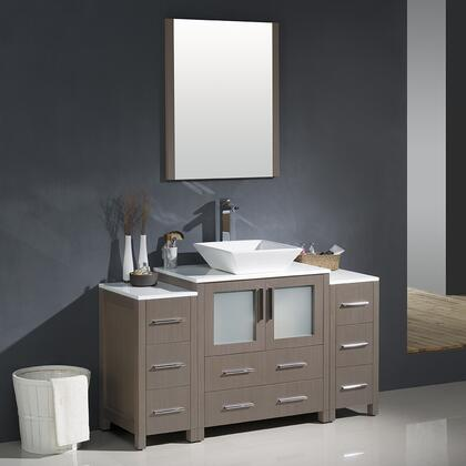 "Fresca Torino Collection FVN62-123012XX-VSL 54"" Modern Bathroom Vanity with 2 Side Cabinets, 2 Frosted Glass Panel Soft Closing Doors and Vessel Sink in"