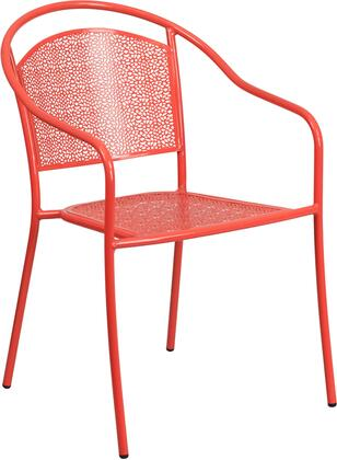 "Flash Furniture CO-3 17"" Indoor-Outdoor Steel Patio Arm Chair with Round Back, Integrated Arms and Plastic Floor Glides in"