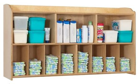"""Foundations Serenity Series 1772XXX 45"""" Diaper Organizer and Storage Wall Unit with 3 Large Shelves and 8 Smaller Storage Compartments"""