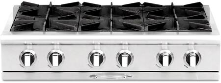 """Capital Culinarian Series CGRT366-X 36"""" Restaurant Style X Range Top with 6 Burners, EZ-Glides Drip Trays, and Auto-Ignition/Re-Ignition, in Stainless Steel"""