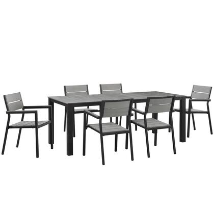 Modway Maine Collection 7 PC Outdoor Patio Dining Set with Solid Grey Polywood Slats, Wooden Plank Boards, Powder Coated Aluminum Frame and Plastic Base Glides in