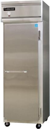 continental refrigerator 1fs 26 solid door shallow depth reach in freezer