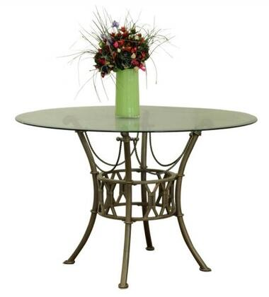 "Chintaly DARCYDTRNDX DARCY DINING Round Clear Glass 48"" Table with Matt Bronze Base"
