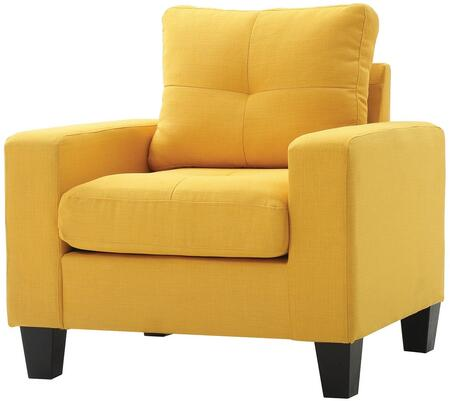 Glory Furniture G470AC Newbury Series Faux Leather Armchair in Yellow