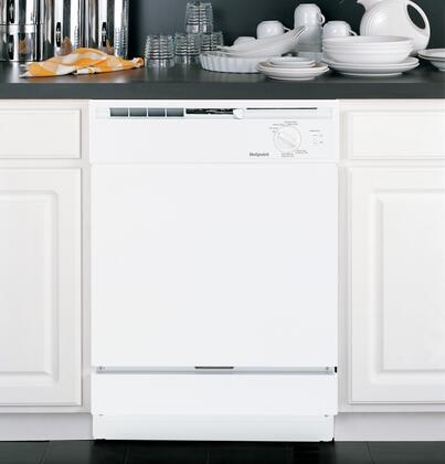 "Hotpoint HDA2100HWW 24""  Built In Full Console Dishwasher with 12 Place Settings Place Settingin White"
