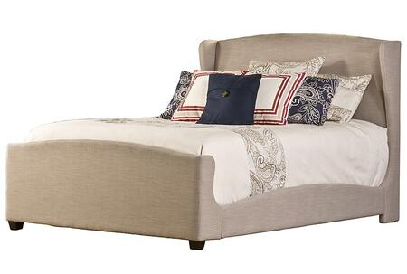 Hillsdale Furniture 1262B Barrington Panel Bed Set with Rails, Wingback Headboard and Footboard and Khaki Linen Upholstery