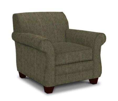 Broyhill Greenwich 3676-0/8612 Chair with Small Rolled Arms, DuraCoil Seat Cushion and Tapered Feet in