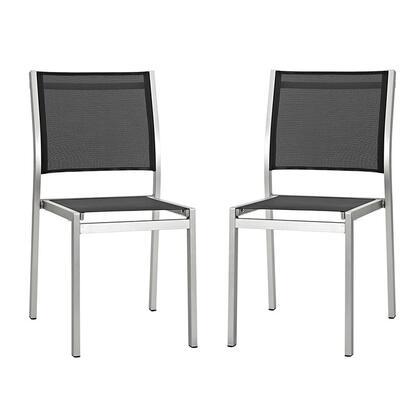Modway EEI2585SLVBLKSET Shore Series  Aluminum Frame  Patio Side Chair