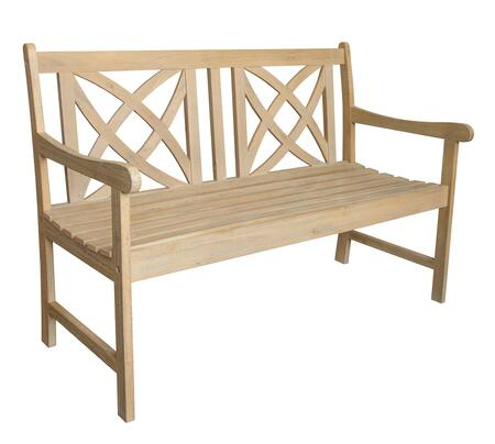 Vifah Beverly Collection Outdoor Garden Bench with Decorative Back, Curved Armrests, Acacia Hardwood Materials and Contoured Seat in Sand-Splashed Finish