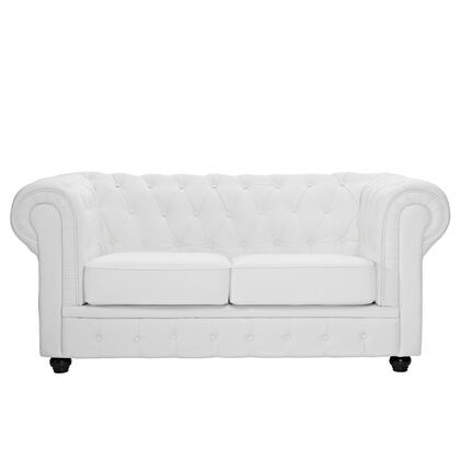 Modway EEI700WHI Chesterfield Series Bonded Leather Stationary with Metal Frame Loveseat