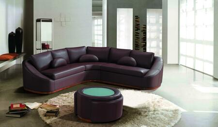 VIG Furniture VGEV2224BR Divani Casa Series Curved Bonded Leather Sofa