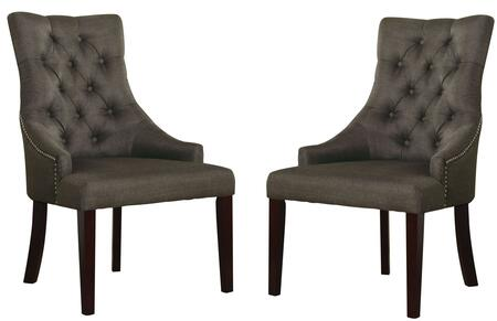 """Acme Furniture Drogo Collection 38"""" Set of 2 Side Chairs with Nailhead Trim, Button Tufted Back, Tapered Legs and Fabric Upholstery in"""