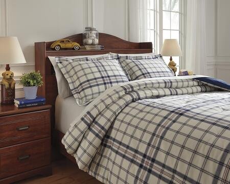 Signature Design by Ashley Derick Q7740 PC Size Comforter Set includes 1 Comforter and Standard Sham with Plaid Design, 200 Thread Count and Cotton Material in Plaid Color