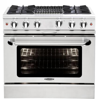 "Capital MCOR364BN 36"" Culinarian Series Gas Freestanding Range with Open Burner Cooktop, 4.9 cu. ft. Primary Oven Capacity, in Stainless Steel"