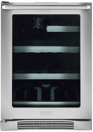 """Electrolux EI24xL10QS 24"""" Undercounter Beverage Center with 2 Glass Shelves, 1 Wine Rack, UV Filtered Glass Door, and Temperature Alarm, in Stainless Steel"""