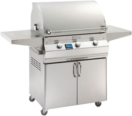 "FireMagic A660S5L1X61 Aurora 63"" Cart with 30"" Grill, E-Burners, One Left Side Infrared Burner, Side Shelves, Digital Thermometer, and Up to 75000 BTUs Heat Output, in Stainless Steel"