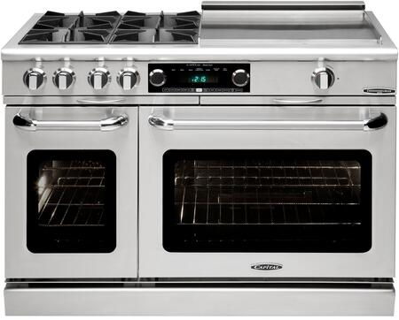 """Capital Culinarian Series COB484G24-X 48"""" Freestanding Dual Fuel Electric Range with 4 Open Burners, Primary 4.6 Cu. Ft. Oven Cavity, Secondary 2.1 Cu. Ft. Oven Cavity, and Moto-Rotis, in Stainless Steel"""