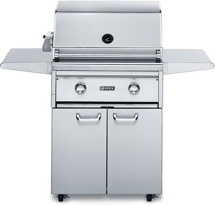 "Lynx L27PSFR-3 Professional Series 27"" Grill On Cart With 1 Brass Burner, 1 ProSear2 Burner and Rotisserie, 685 Sq. In. Cooking Surface and Hot Surface Ignition System, in Stainless Steel:"