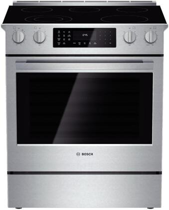 "Bosch HEI8054U 30"" 800 Series Slide-in Electric Range with Smoothtop Cooktop, 4.6 cu. ft. Primary Oven Capacity, Warming in Stainless Steel"