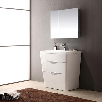 "Fresca Milano Collection FVN8532 32"" Modern Bathroom Vanity with Medicine Cabinet, 2 Soft Closing Drawers and Integrated Acrylic Countertop and Sink in"