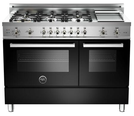 "Bertazzoni Professional PRO486GGASTLP 48"" Liquid Propane Range With 6 Brass Burners, 18,000 BTUs Dual-ring Power Burner, 3.6 cu. ft. Convection Oven, 2.2 cu. ft. Auxiliary Oven and Electric Griddle"