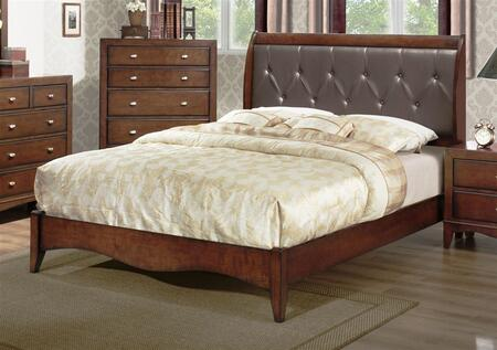Yuan Tai LA5300 Landsberg Panel Bed with Leather in Espresso Finish