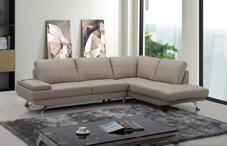 VIG Furniture VGKNK8496BGE Divani Casa Knight Series Sofa and Chaise Sofa