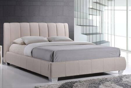 Wholesale Interiors Baxton Studio BBT6085 Marzenia Platform Bed with Vertical Stitched Seams, Polyurethane Foam Padding and Fabric Upholstery