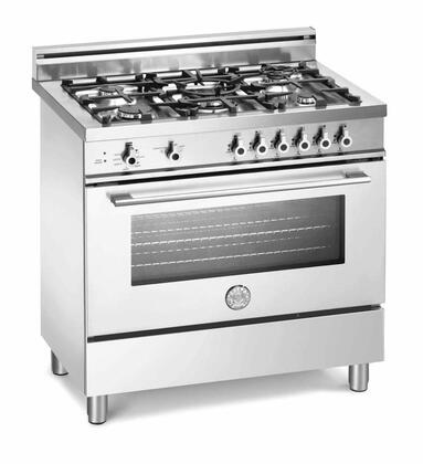 "Bertazzoni X365GGVBILP 36"" Professional Series Liquid Propane Freestanding Range with Sealed Burner Cooktop, 4.4 cu. ft. Primary Oven Capacity, Storage in White"
