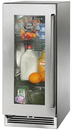 "Perlick HP15RS33xC 15"" Signature Series Compact Refrigerator with 2.8 cu. ft. Capacity, RAPIDcool System, 525 BTU Commercial Grade Compressor and Classic Handle, in Stainless Steel Glass Door with"