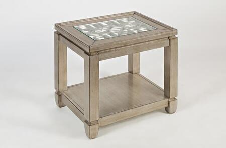 Jofran Casa Bella Collection 15XX-7 24  Chairside Table with 3mm Mirror, Intricate Inlay, and 6mm Tempered Glass Top in Vintage Silver