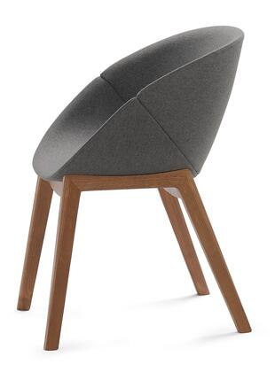 Domitalia COQUIPL0F Coquille Armchair with Wood Frame, Made in Italy and Upholstered Wool Shell in Nordwool Dark Grey