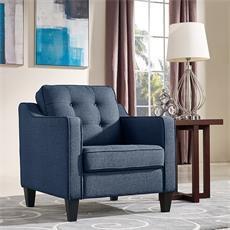 Diamond Sofa LUCASCHBU Lucas Series Fabric Armchair with Wood Frame in Blue