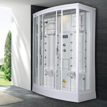 Ariel ZA213 Steam Shower with Rainfall Ceiling Shower, Handheld Showerhead, 28 Body Jets and Computer Control Panel with Timer