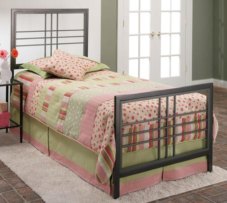 Hillsdale Furniture 1334-XX Tiburon Bed with Rails, Metal and Straight Lines and Sharp Angles in Magnesium Pewter